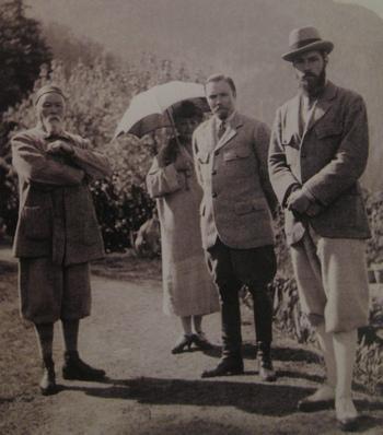 Николай Константинович, Елена Ивановна, Юрий Николаевич и Святослав Николаевич Рерихи Кулу, Индия. 1930-е гг.